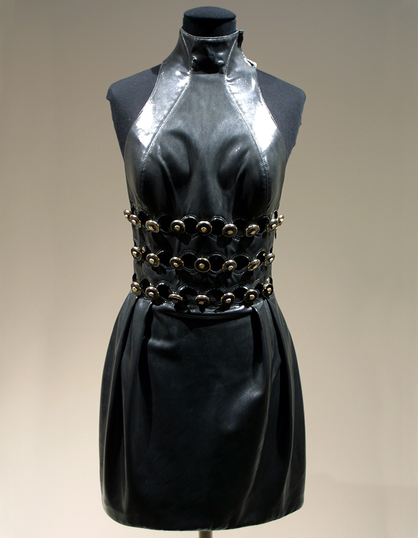 ebbb68e7efa9 Mini evening dress, Spring/Summer 1996, Versace, leather, synthetic tulle,  lace, beads & sequins