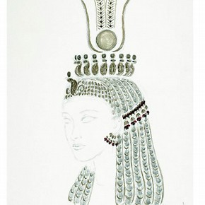 Cleopatra's head-dress design by Oliver Messel. Museum no. S.368-2006