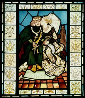 Panel, King Ren's Honeymoon, Ford Madox Brown, about 1863. Museum no. CIRC.516-1953
