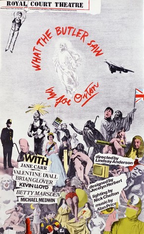 Poster for What the Butler Saw by Joe Orton (1933-1967), colour lithograph photo-montage, designed by Lindsay Anderson (1923-1994), Royal Court Theatre, London, England, 1975. Museum no. S.1076-1995