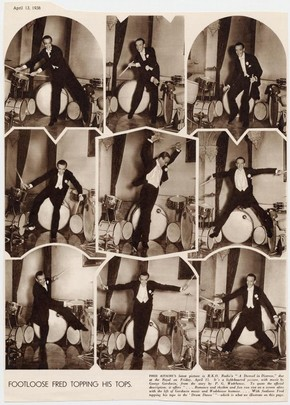 Publicity pictures for Fred Astaire's London opening of the film A Damsel in Distress, 1938