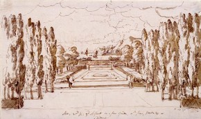 Set design for Arsinoe by Sir James Thornhill (1675-1734), pen, ink and wash, England, 1705. Museum no. D.25-1891
