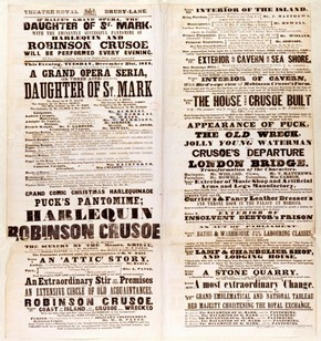 Playbill for 'Harlequin and Robinson Crusoe', Theatre Royal, Drury Lane, London, 1844.