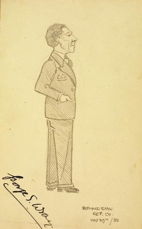 Caricature by Gilbert Sommerlad (1904-1976) of George Wray as Valentine in You Never Can Tell by George Bernard Shaw, pencil on paper, England, 29 May 1933