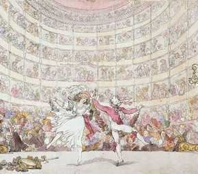 'The Prospect Before Us, Charles Louis Didelot & Mme.Theodore in Dauberval's ballet Amphion et Thalie', hand-coloured etching by Thomas Rowlandson, London, England, 1791. Museum no. HBf.81-60 Beard Collection