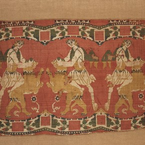 Woven silk with 'lion-strangler' design