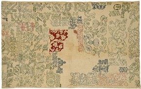 Linen sampler embroidered with silk, by unknown maker, Italy, 16th century. Museum no. T.14-1931