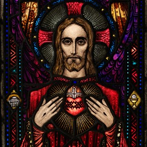 The Apparition of the Sacred Heart, stained glass panel, studio of Harry Clarke, 1927-8. Museum no. C48:1 to 4-1982