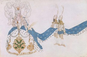 Costume design for The Queen & Her Pages in the ballet The Sleeping Princess by Marius Petipa (1818 - 1910) at The Alhambra Theatre, London, designed by Leon Bakst for Diaghilev Ballet Russes, Paris, France, 1921