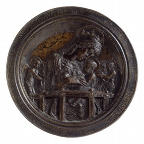 Cast bronze roundel depicting the Virgin and Child, known as the 'Chellini Madonna', by Donatello, Florence, Italy, about 1450. Museum no. A.1-1976