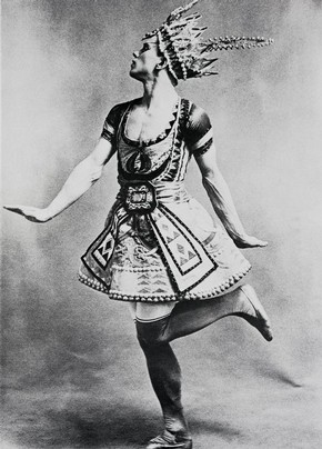 Nijinsky in Le Dieu Bleu, early 20th century, black and white photograph, reproduced in the book Diaghilev and the Ballets Russes by Boris Kochno, Harper & Row, 1970