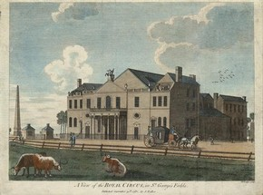 View of the Royal Circus in St. George's fields, etching, John Lodge (engraver), London, 1782 (published). Museum no. S.2379-2009