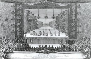 Engraving of the ballet La Princess d&#39;Elide, Palace of Versailles, Paris, published in &#39;Les Plaisirs de L&#39;Isle&#39;, Paris, 1673-4