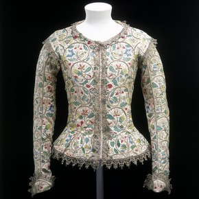 Embroidered linen jacket, originally made for Margaret Laton in about 1610, England, UK. Museum no. T.228-1994