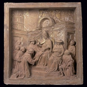 Terracotta pulpit relief depicting Pope Honorius III confirming the establishment of the Franciscan Order, by Benedetto da Maiano, Italy, about 1480-81. Museum no. 240:1-1889