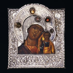 Silver icon with painting of the Virgin and Child, embellished with semi-precious stones, Russia, 19th century. Museum no. 141-1906