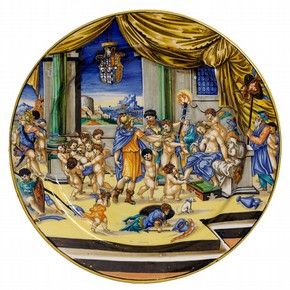 Maiolica dish depicting Alexander and Roxana, signed by Xanto, Urbino, Italy, 1533. Museum no. 1748-1855
