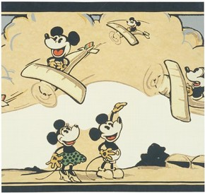 Section of 'Mickey Mouse' wallpaper and frieze, about 1930. Museum no. E. 3100-1930