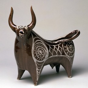 Figure of a bull, Michael Cardew, 1954, United Kingdom. Museum no. CIRC.57-1954