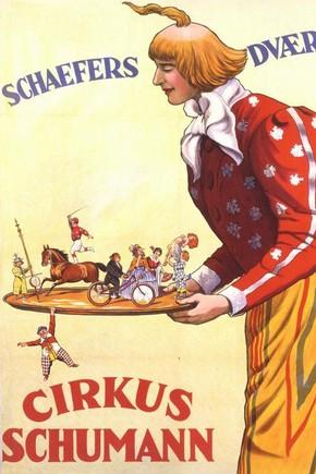 Circus memorabila poster, 'Cirkus Schumann: Schaeffers Dvaerge', printed by Adolph Friedlander, Hamburg, Germany, 1926