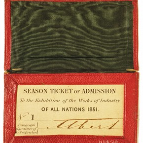 HRH Prince Albert's season ticket to the Great Exhibition of 1851. Museum no. NAL393023.
