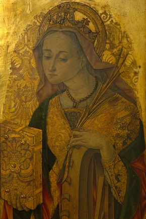 Figure 4. Vittore Crivelli St Catherine (765A-1865), before conservation (Photography by V&amp;A Photographic Studio).