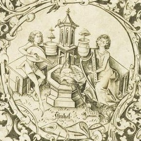 Detail from an engraving of a plate design by Israhel van Meckenem, Germany, about 1475. Museum no. 14000