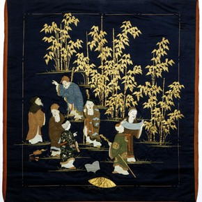 'The Seven Sages of the Bamboo Grove', fukusa, Japan, 1850-1900. Museum no. T.197-1963