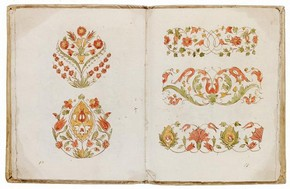 Pen, ink and watercolour manuscript of embroidery designs, by Lunardo Fero, Venice, Italy, 1559. Museum no. E.1940-1909