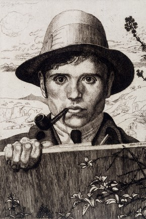 Self-Portrait in a Landscape, Leon Underwood, 1921. Museum no.E.2920-1921