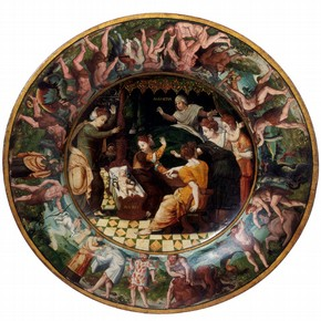 'The Birth of Hercules', painting on wooden birth bowl, from the circle of Giovanni Battista Franco, Florence, Italy, 1530-40. Museum no. 917-1875
