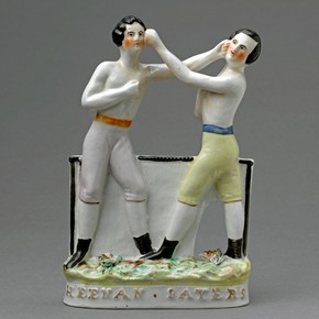 Flatback figure group of the boxers, Tom Sayers and John Carmell Heenan, about 1860. Museum no. C.26-1944
