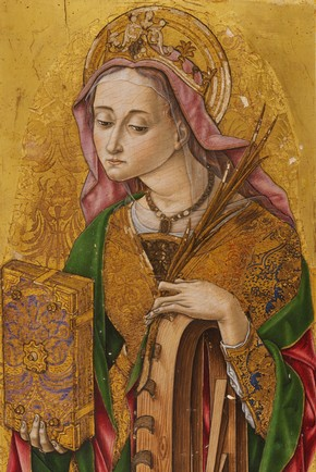 Figure 5. Vittore Crivelli &#39;St Catherine&#39;, after conservation (Photography by V&amp;A Photographic Studio).
