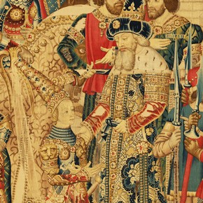 Detail showing Queen Penthesilea and King Priam of Troy, from a tapestry with Scenes of the War of Troy, 1475-1490. Museum no.6-1887