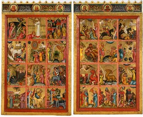 Left and right panels from an altarpiece depicting the Apocalypse, by Master Bertram, Hamburg, Germany, about 1380. Museum no. 5940-1859