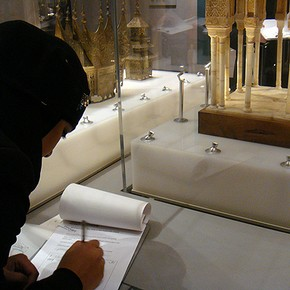Students exploring the Architecture Gallery, V&A, 2009