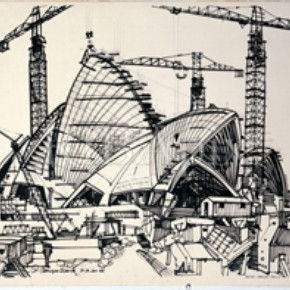 Drawing of the Sydney Opera House under construction, 1966 © RIBA Library Drawings Collection