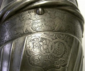 Detail of etched ornament on a thigh defence (cuisse), possibly by Daniel Hopfer, about 1515-1525, steel, Southern Germany (Augsburg). Museum no. 402-1864