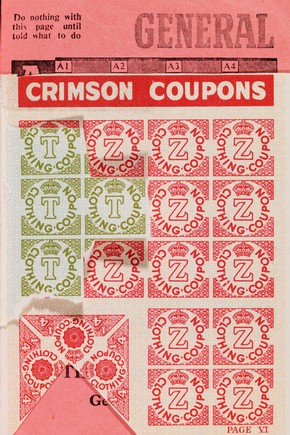 Clothing coupons from Ration Book, Britain, 1940s