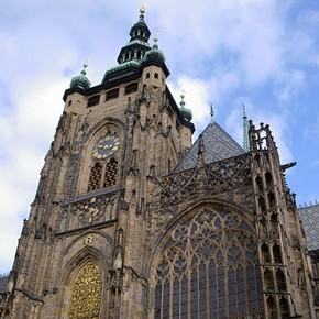 Upper part of the south transept façade, St Vitus Cathedral, Prague, begun around 1371.