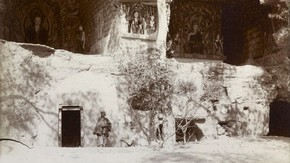 Caves with frescoes, Dunhuang, Sir Marc Aurel Stein, 1907. Photo 392/26(323),  The British Library Board