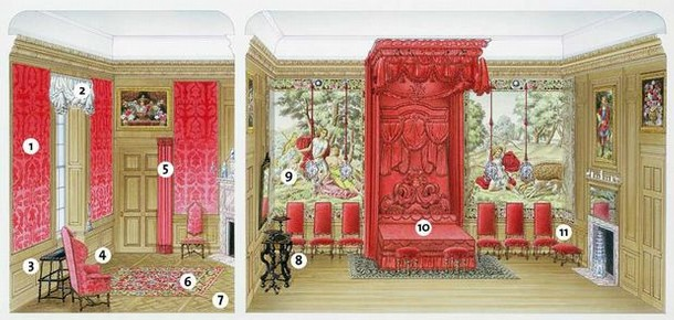 Dressing room and bedroom of an imaginary grand house in 1700.