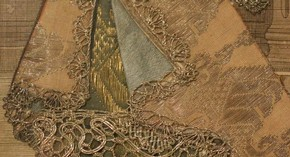 Figure 14 - Detail of engraving, Mademoiselle Subligny dansant a lOpera, Jean Mariette (publisher), 1688-1709, hand coloured with applied silks and bobbin lace. Museum no. 1197-1875, given by Lady Wyatt, photography by Alice Dolan