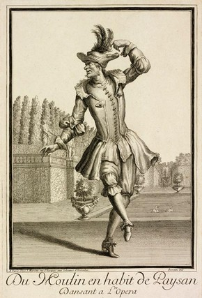 Figure 19 - Engraving, Du Moulin en habit de Paysan, Jean Mariette (publisher), Paris, about 1660-1742. Museum no. 4954-1968, given by Dame Marie Rambert