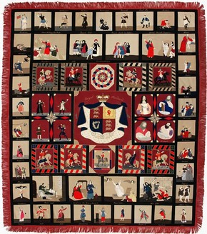 Figure 5 - 'Royal Standard' hanging, maker unknown, 1850s, intarsia patchwork in wool. Museum no. CIRC.114-1962