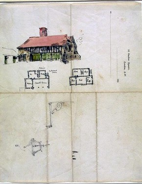 Design for a coach house, Edwin Landseer Lutyens, 1891-2. Museum no. E.2-1991