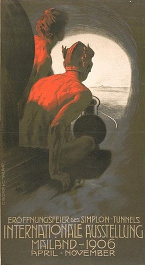 Leopoldo Metlicovitz, 'Simplon Tunnels Internationale Ausstellung', 1906. Museum no. E.405-1982