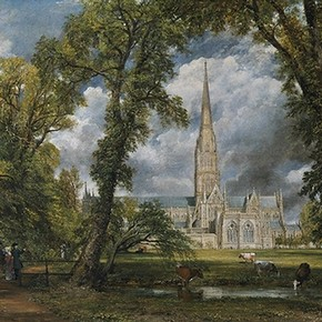 'Salisbury Cathedral from the Bishop's Ground' by John Constable, oil on canvas, 1823, Museum no. FA.33