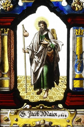 St. James The Greater, stained glass panel, 1618. Museum no. C.235-1934, Guthrie bequest