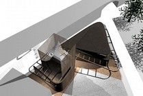 Proposed mosque, aerial view, Bethnal Green.  Makespacearchitects
